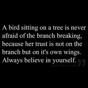 Believe in yourself - bird on branch